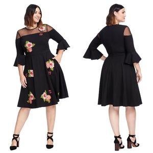 eSHAKTI Bell Sleeve Illusion Dress Embroidered